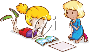 Illustration of the little girls studying on a white background