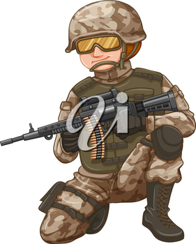 Army with rifle gun loaded with bullets illustration