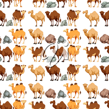 Seamless background with camels and rocks illustration