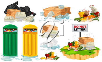Rubbish on the floor and trashcans illustration