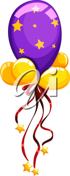Purple balloon with red ribbon illustration