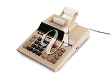 Old calculator for doing office related work, isolated in white