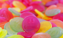 Colorful candy faces, selected focus - traditional dutch candy