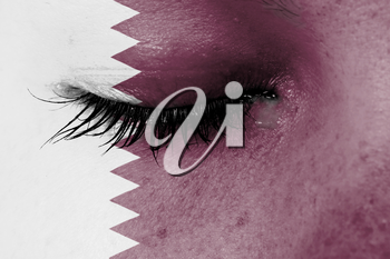 Crying woman, pain and grief concept, flag of Qatar