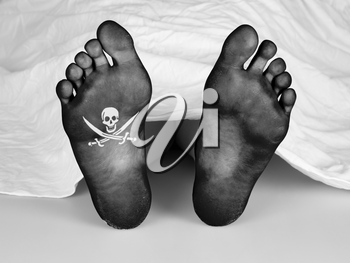 Dead body under a white sheet, suicide, murder or natural death, pirate