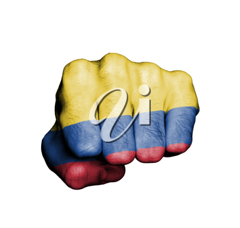 Front view of punching fist, banner of Colombia