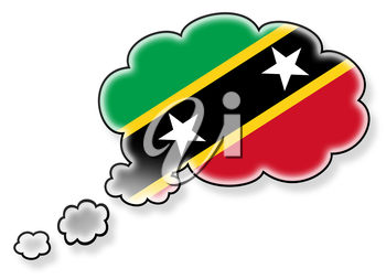Flag in the cloud, isolated on white background, flag of Saint Kitts and Nevis