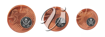 European union concept - 1, 2 and 5 eurocent, pirate flag