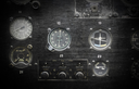 Different meters and displays in the console of an old plane