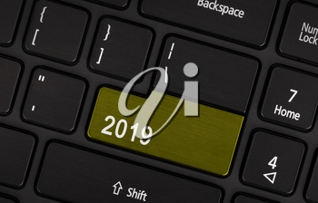 Text 2019 button, happy new year 2019 concept