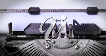 Vintage inscription made by old typewriter, dream