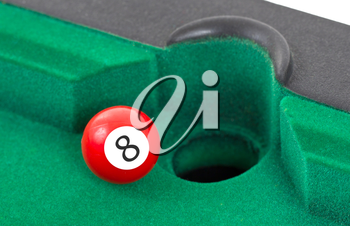 Red snooker ball is going to fall - number 8