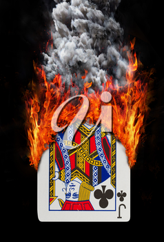 Playing card with fire and smoke, isolated on white - Jack of clubs