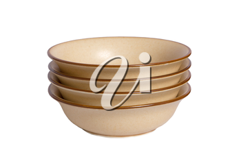 Vintage empty bowls on a white background