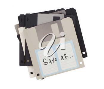 Floppy disk, data storage support, isolated on white - Save as