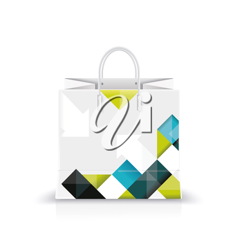 Vector illustration of white shopping paper or plastic bag with modern abstract pattern print.