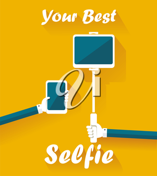 Taking Selfie Photo on Smart Phone, hand hold monopod with mobile phone and Tablet PC computerconcept icon.