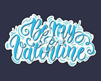 Happy Valentine's day hand lettering on blured background. Can be used for website background, poster, printing, banner, greeting card. Vector illustration