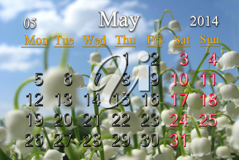 calendar for May of 2014 on the background of lily of the valley