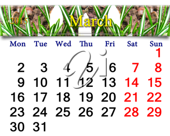 beautiful calendar for March of 2015 year on the crocus background