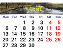 beautiful calendar for April of 2015 year on the background of spring flood