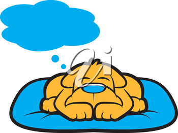 Cartoon puppy sleeping and thinking with thought bubble
