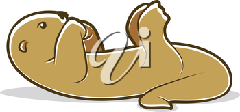 Cute brown otter cartoon lying on his back