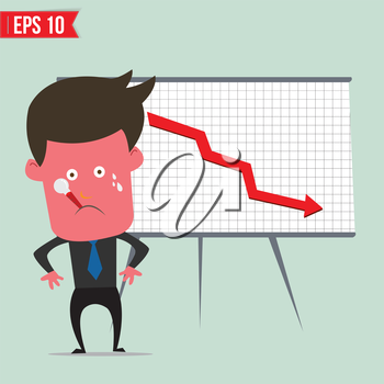Cartoon business man present with red graph - Vector illustration - EPS10