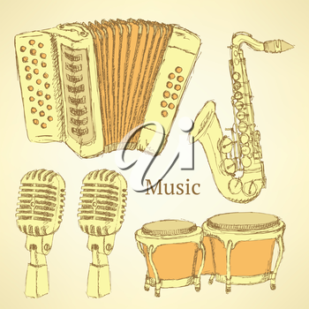 Sketch musical instrument in vintage style, vector