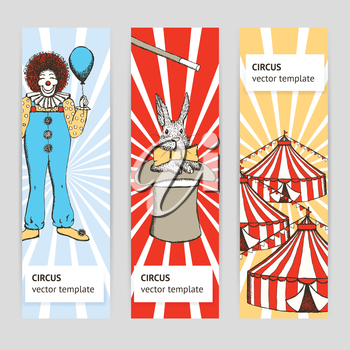 Sketch circus, rabbit and clown in vintage style, vector poster