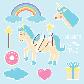 Unicorn set of stickers, badges with rainbow, doughnut. cloud, magic wand, heart and present