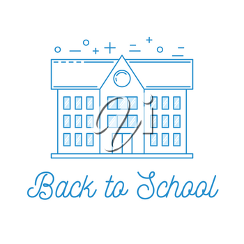 Back to school illustration with school building, line art design