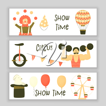 Circus set of characters, cute stipple design