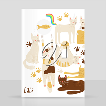 Cats vector concept, friendly and childish design