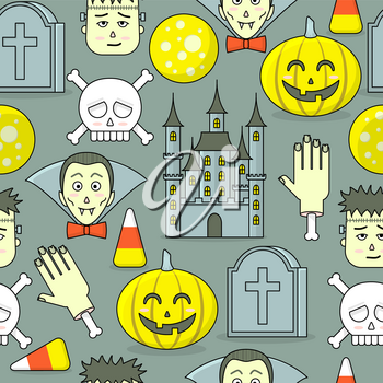Halloween pattern, vector seamless design with castle, pumpkin, zombie and vampire