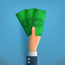 Hand with Money on Blue Background. Means of Payment