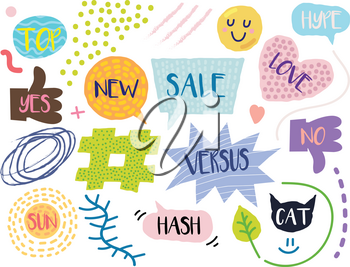 Cartoon Style Illustration with Bubbles, Expressions, Signs, Patches, Stickers, and Abstract Objects on White Background. Trendy Modern Graphic Style Template Set
