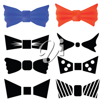 colorful illustration with set of bows for your design