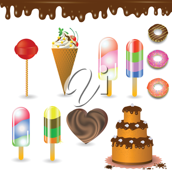 colorful illustration with  collection of  sweets for your design