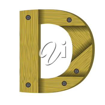 colorful illustration with wood letter D  a white background