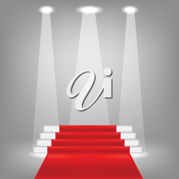 illustration  with red carpet on grey background