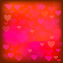 Red Heart Background. Romantic Blurred Red Heart Pattern
