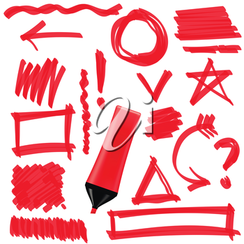Red Marker Isolated on White Background. Set of Graphic Signs. Arrows, Circles, Correction Lines