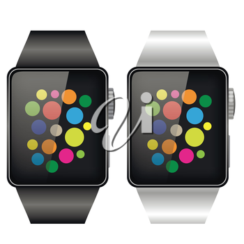 Two Smart Watches Isolated on White Background