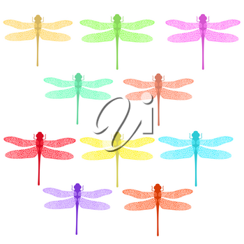 Colorful Stilized Dragonfly Isolated on White Background. Insect Logo Design. Aeschna Viridls