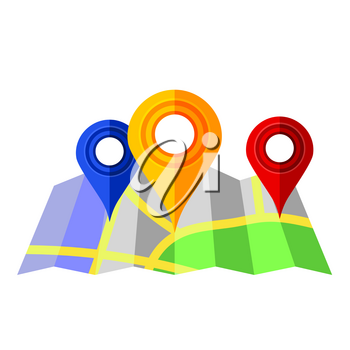 Colorful Markers Pointer with Paper  Road Map. GPS Navigator Location Icon.