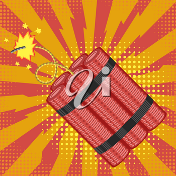 Bomb Icon on Red Halftone Background. Detonate Dynamite Concept. TNT Red Stick. Design Element for Flyer and Poster. Explode Flash, Burn Explosion.