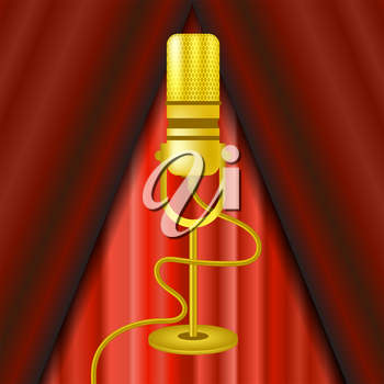 Retro Gold Microphone Icon Isolated on Red Curtain Background.