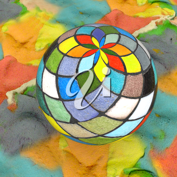 Mosaic ball on a colorful background