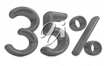 3d red 35 - thirty five percent on a white background